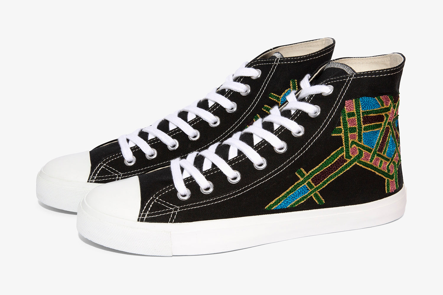 high top sneakers for men with hand embroidery