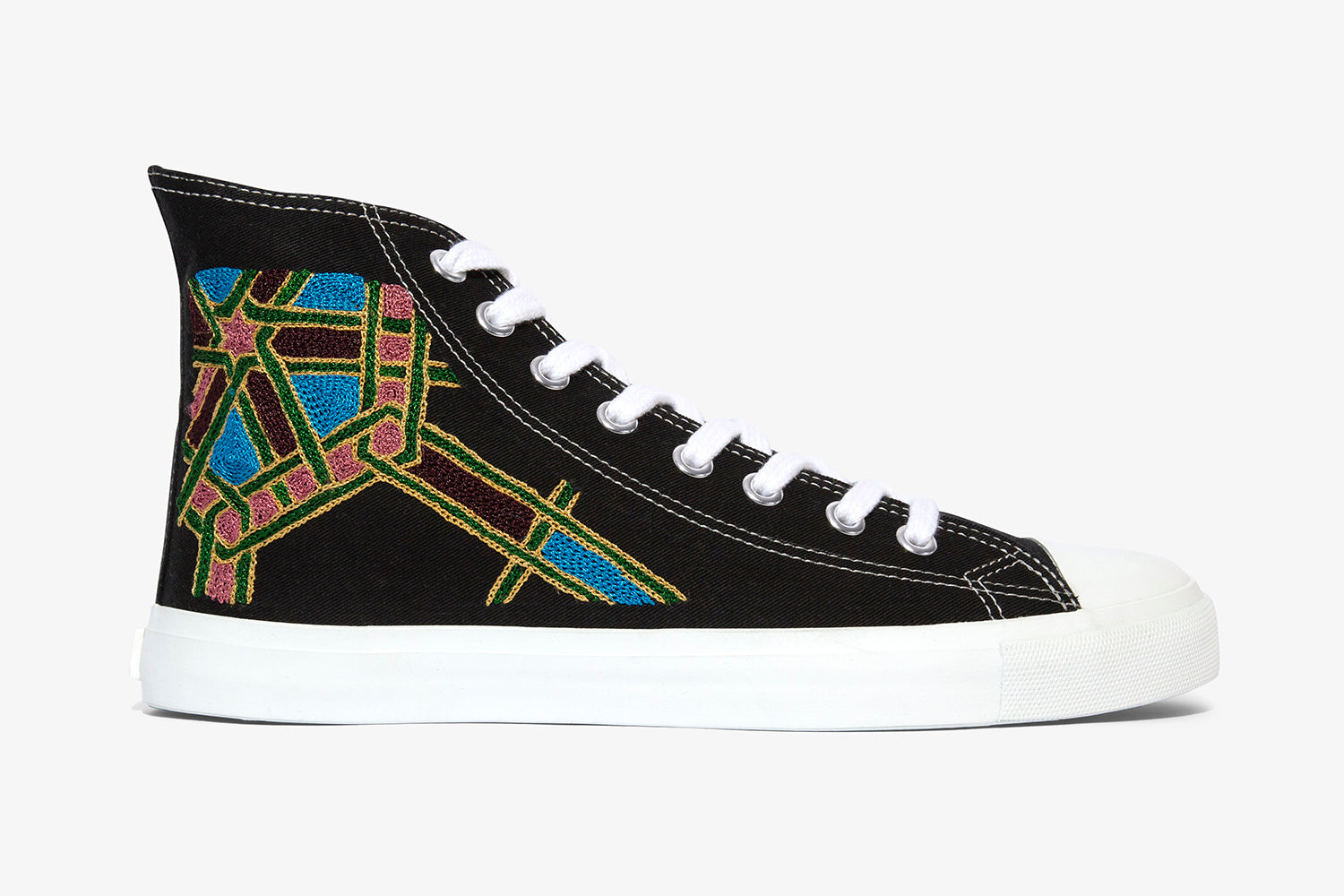 black high tops with hand embroidery I designer sneakers