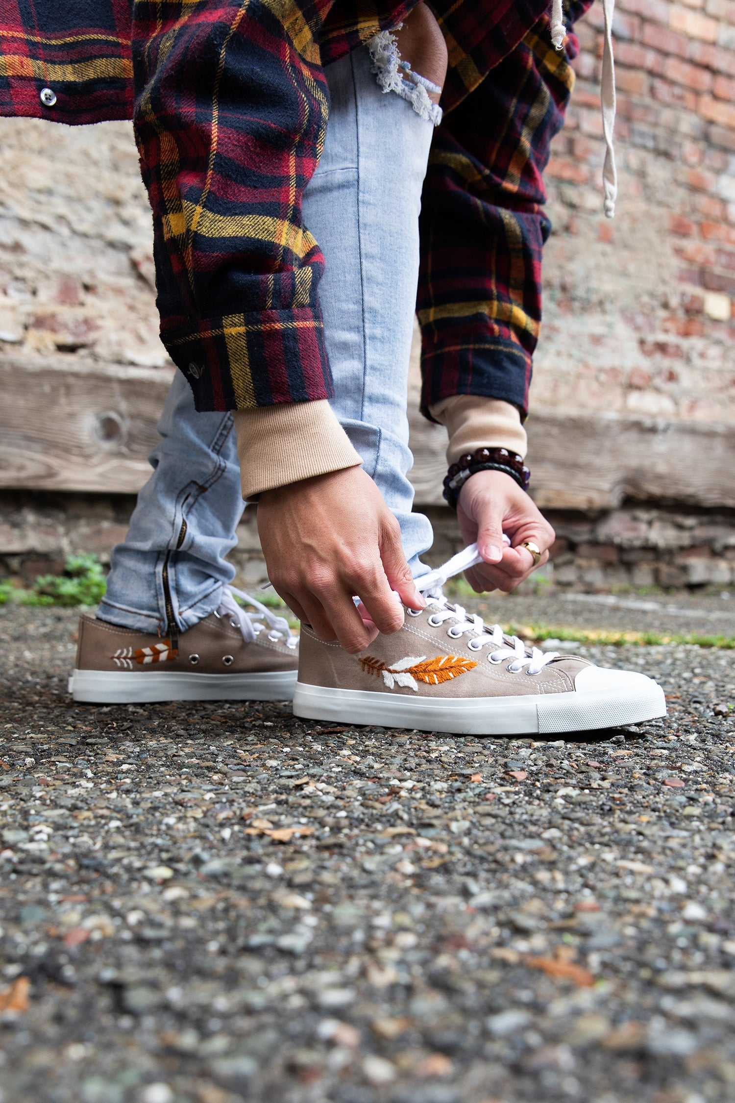 Vegan, sustainable sneakers made with fair trade values_ low cut taupe