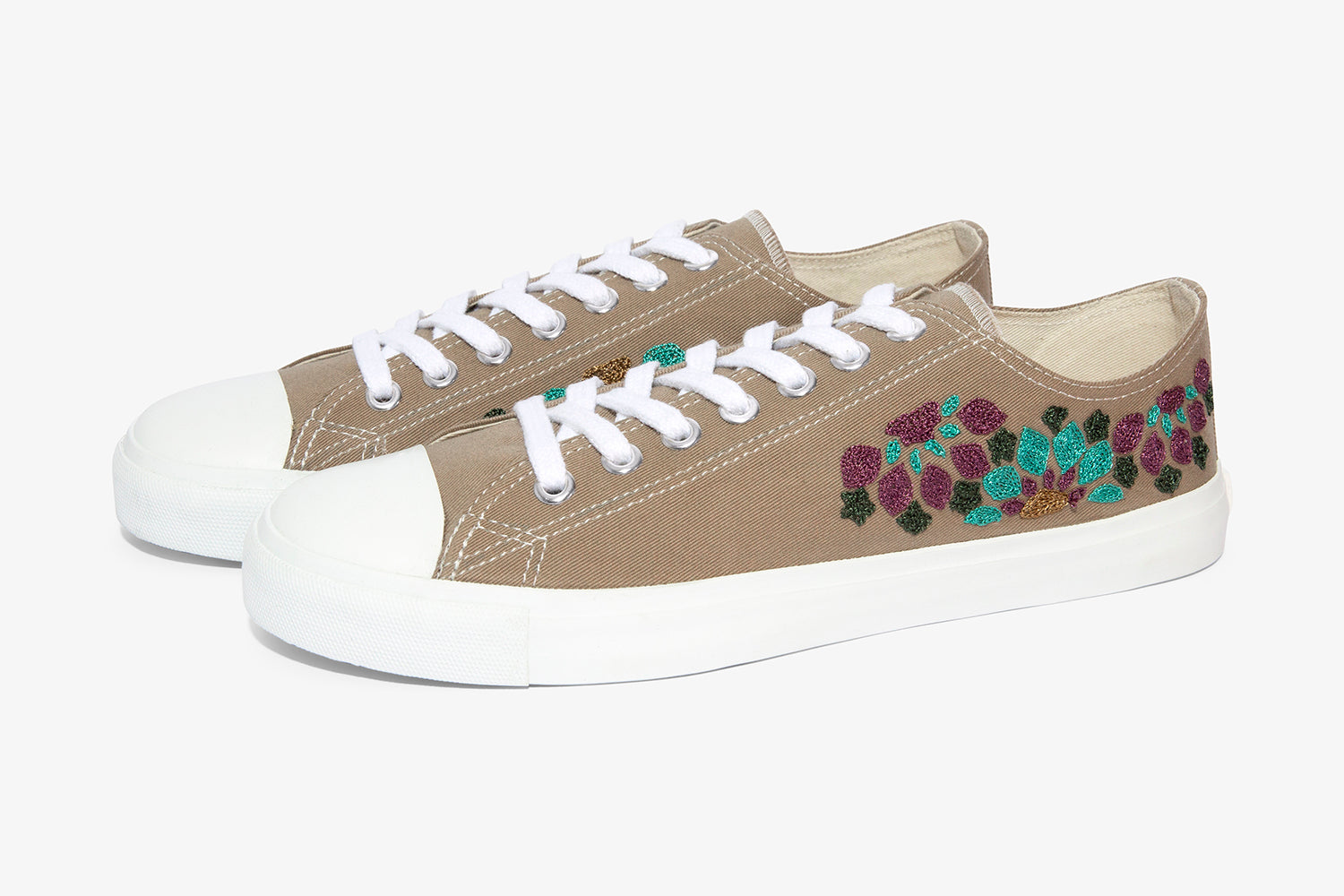 vegan shoes, low cut sneakers with hand embroidery