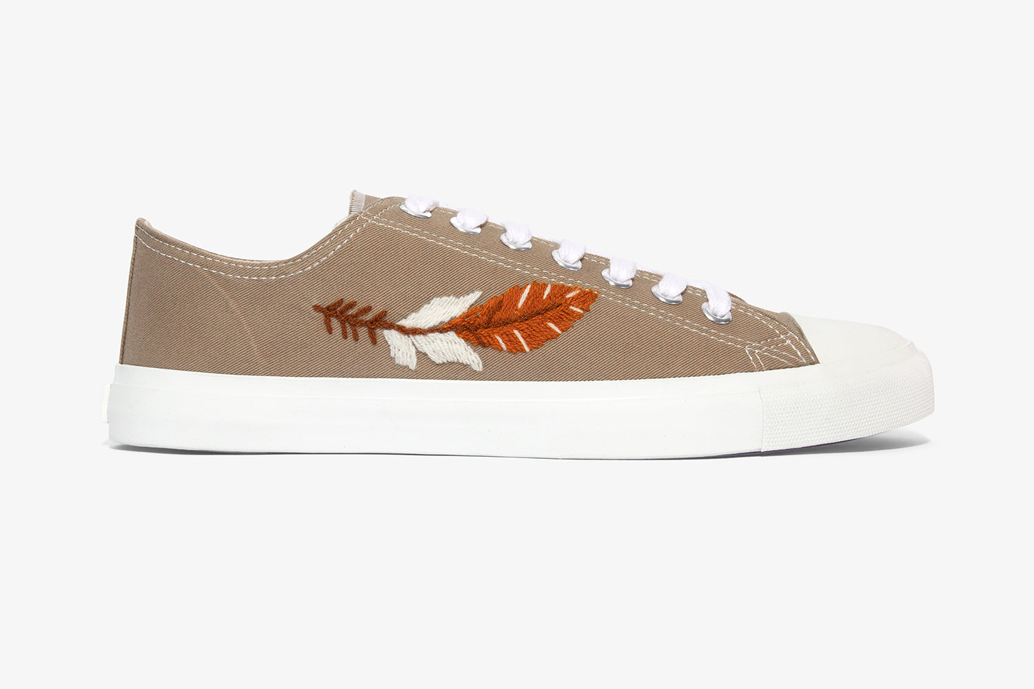 Taupe low top sneaker_ vegan sneaker produced with fair trade values