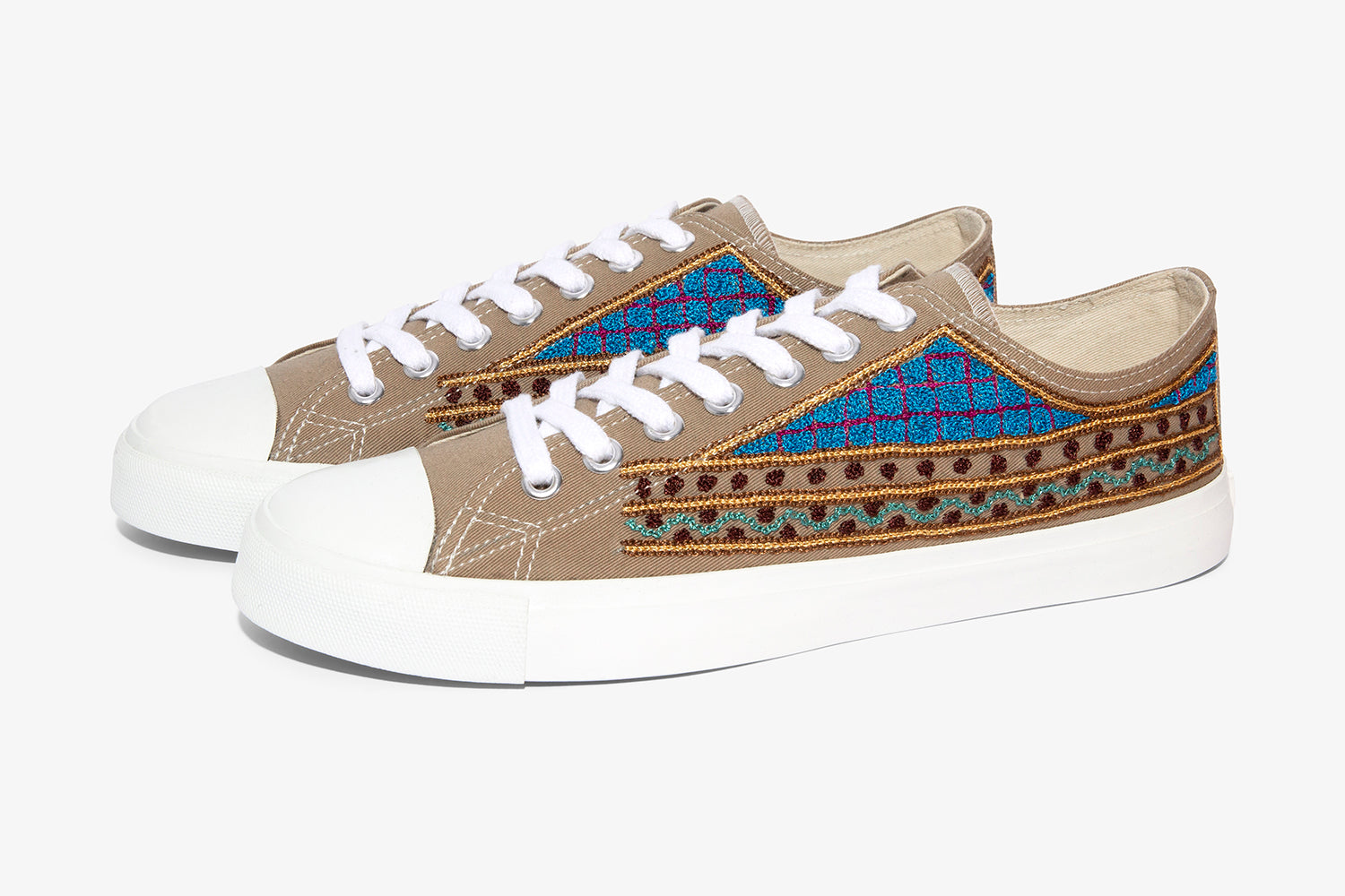 fashion sneaker with artisan hand embroidery, taupe low cut