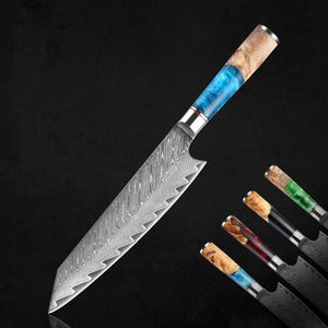Miyu Kiritsuke Damascus VG10 Steel Japanese Kitchen Knife with Resin Wood Handle