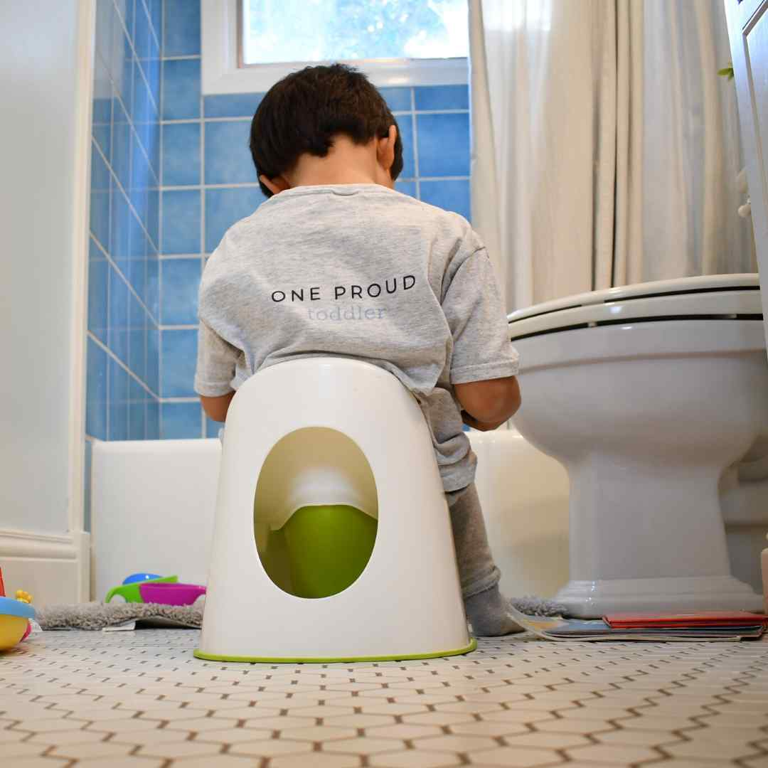 toddler sitting on potty chair reading book