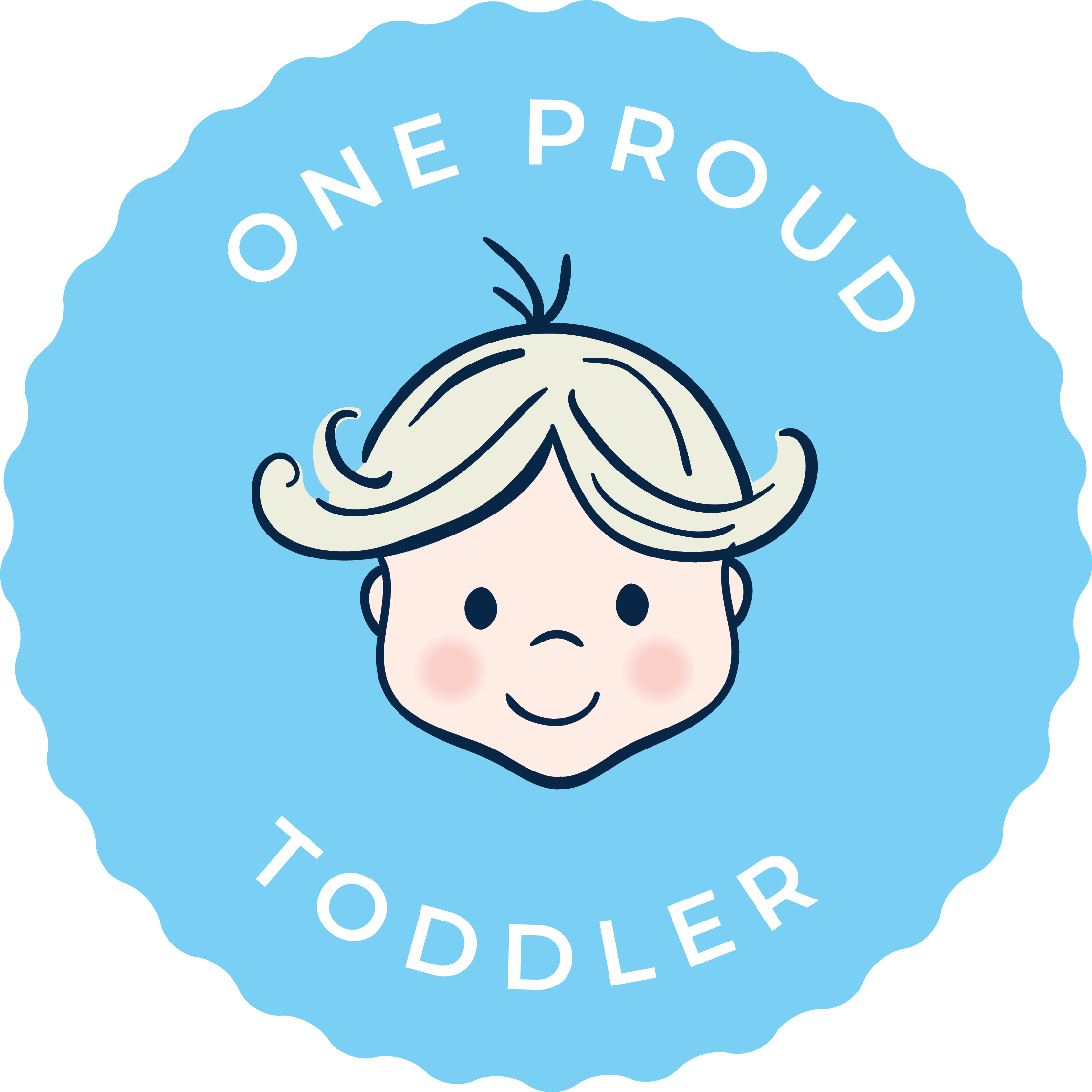 one proud toddler blue background logo