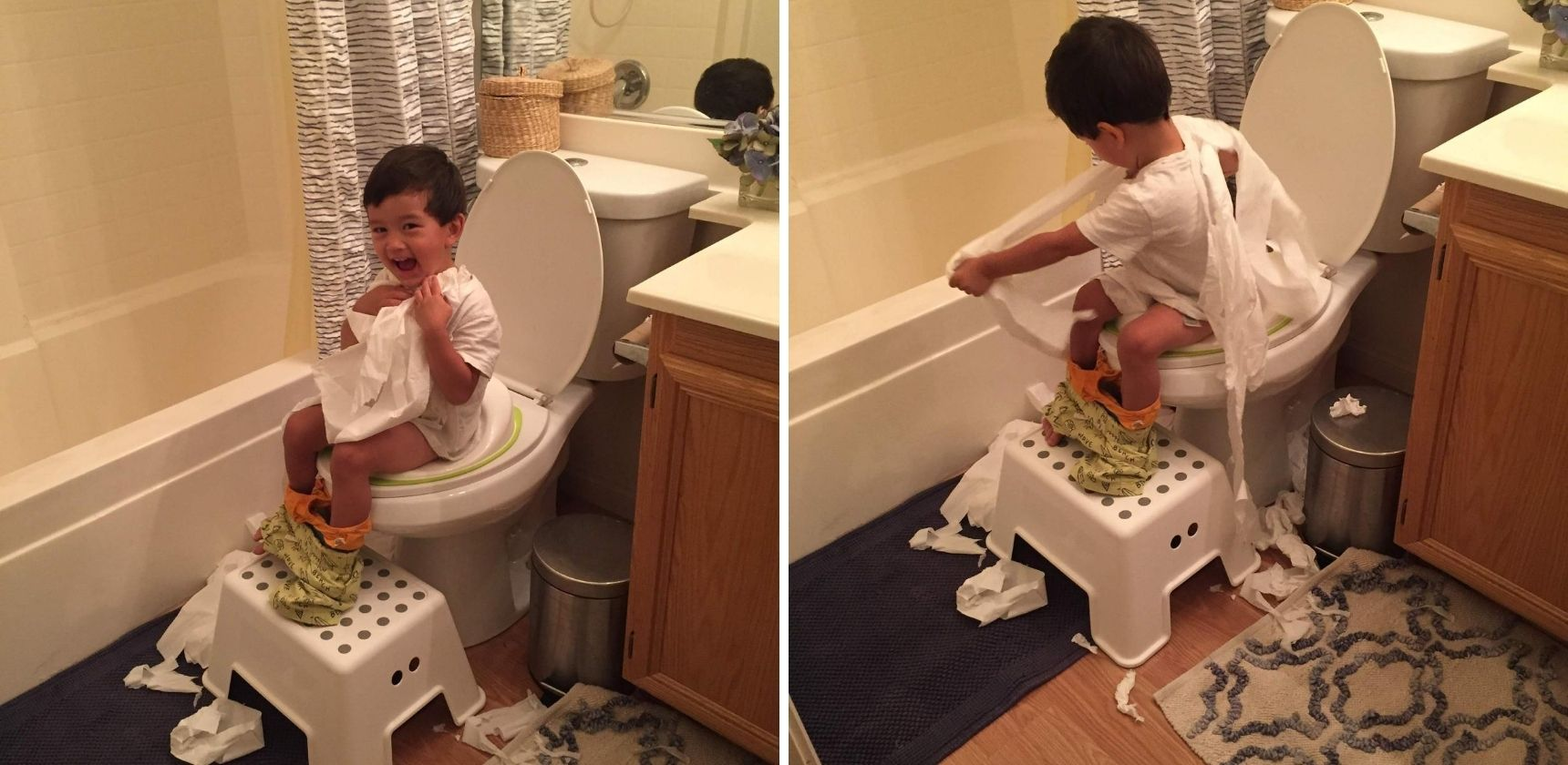 Boy Having Fun Potty Training
