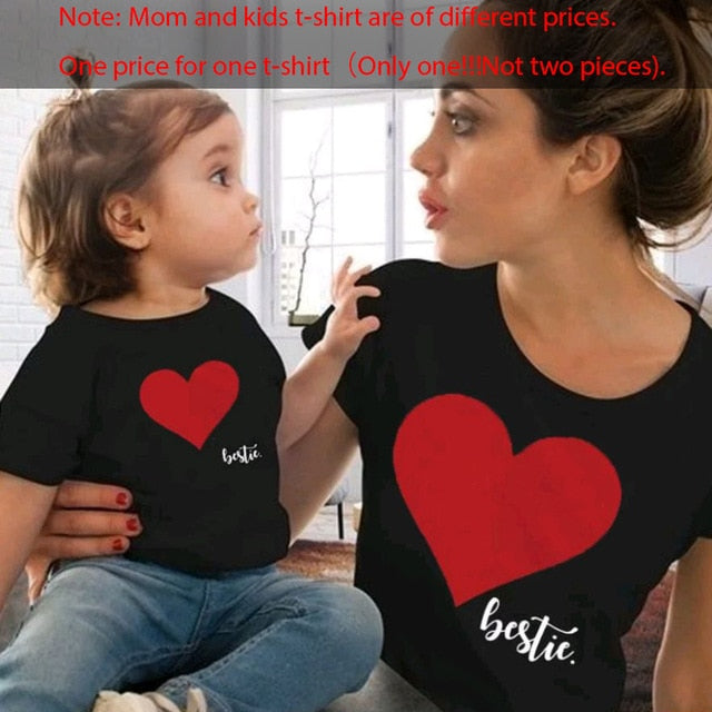 Heart Printed Tops For Family