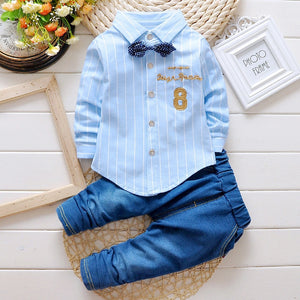 Collar Shirt and Blue Jeans Set