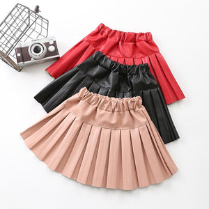 Children's Faux Leather Pleated Skirt