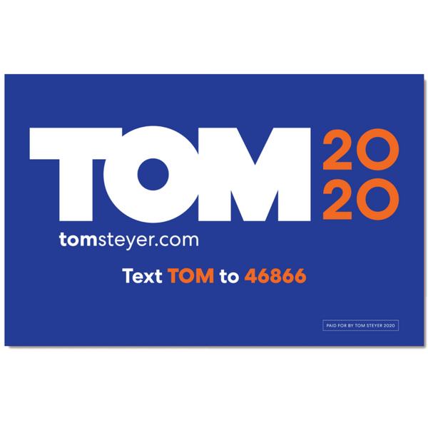 Tom 2020 Logo Rally Sign with Code