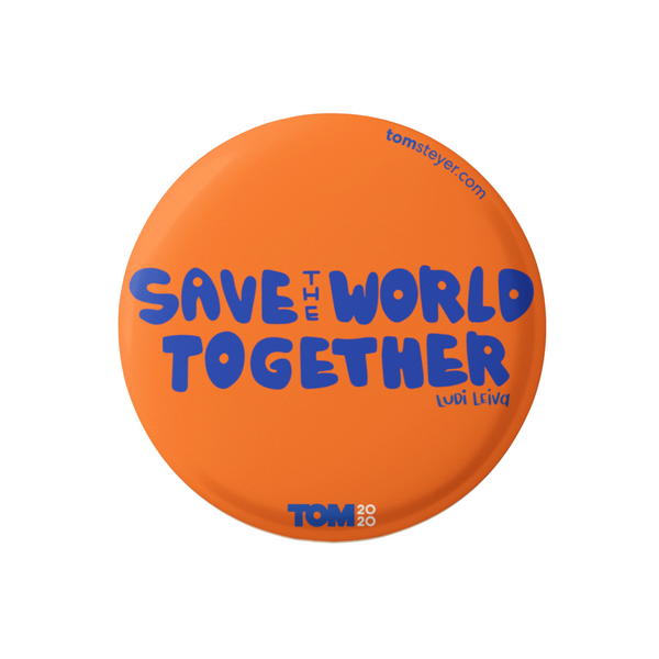 "Save the World Orange 3"" Button"