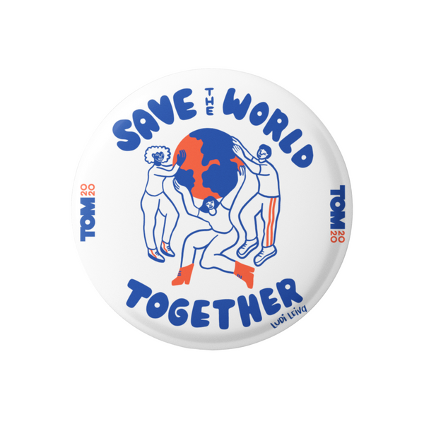 "Save the World White 3"" Button"