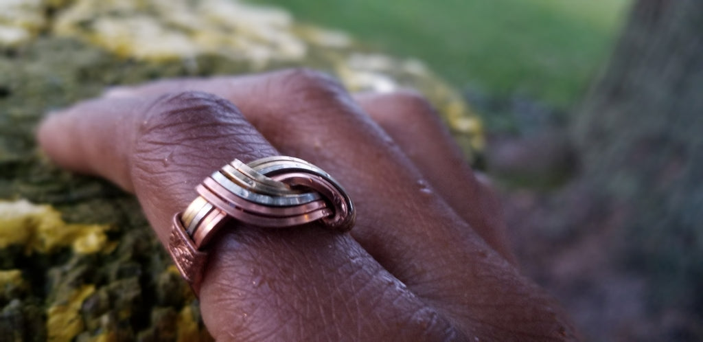 Hug Ring | Copper Brass N Silver