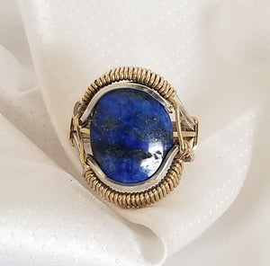 Wrap Ring | G Silver, brass Lapis