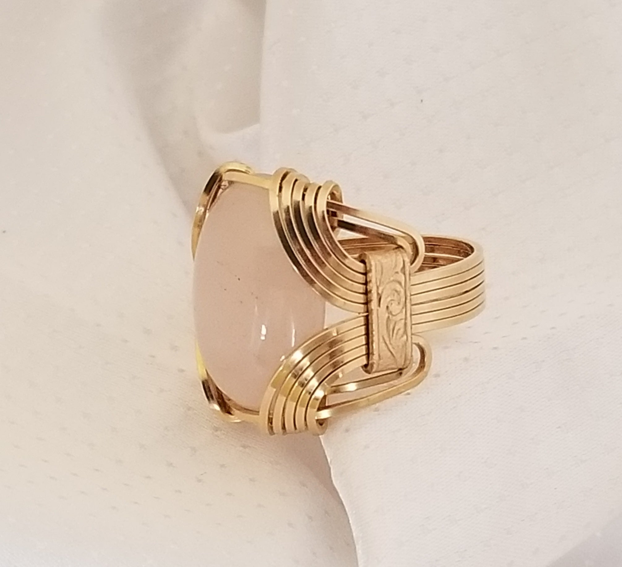 Pharaoh Ring | Brass, Rose Quartz