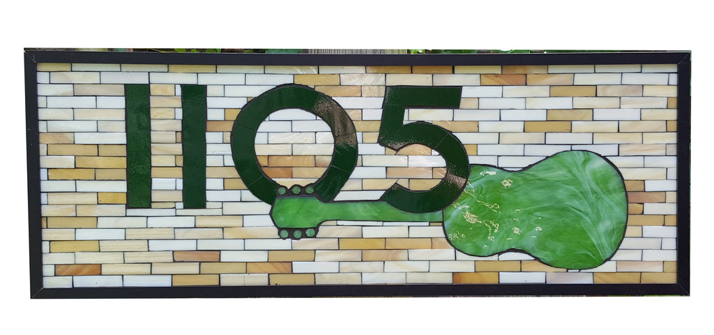 House Number Plaque Stained Glass Mosaic with Decorative Element
