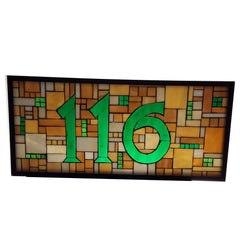 House Number Plaque Stained Glass Mosaic Glass on Glass