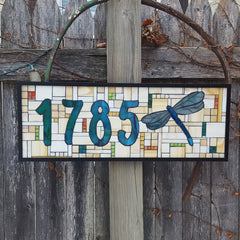 A House Number Plaque Stained Glass Mosaic with Dragonfly