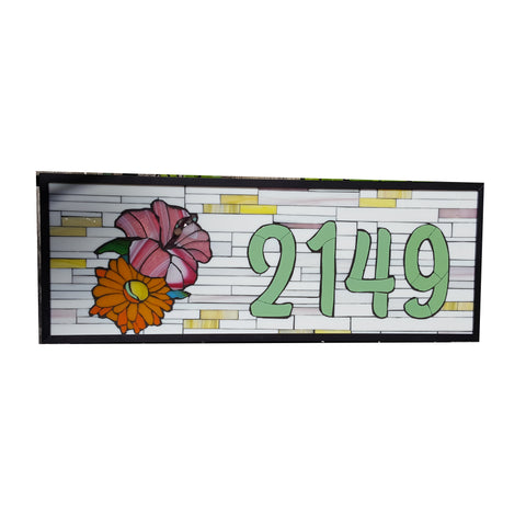 A Custom House Number Plaque Stained Glass Mosaic with Flowers