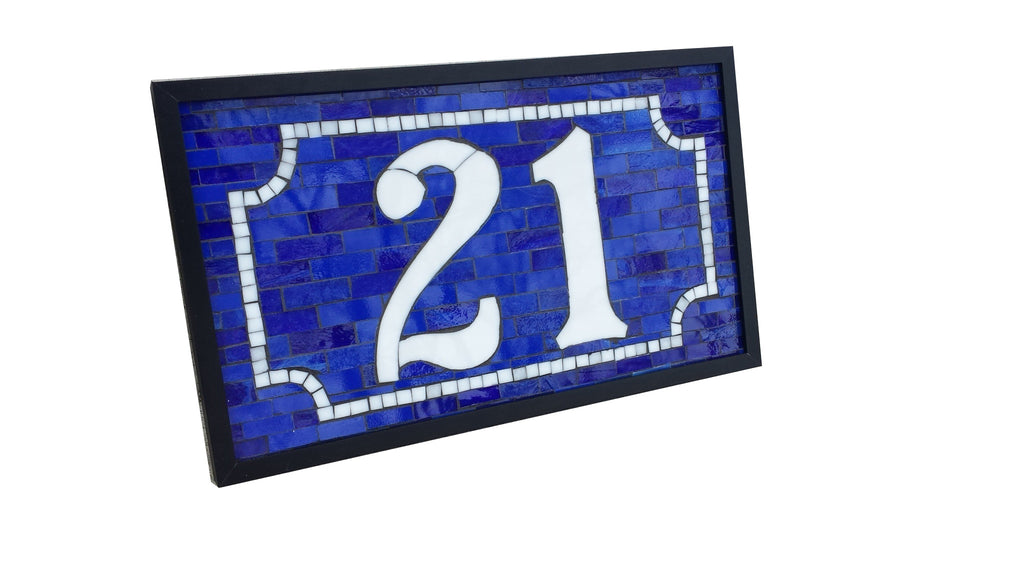 Custom 2 Digit House Number Plaque Stained Glass Mosaic