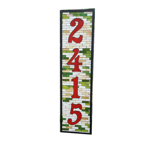 House Number Plaque Stained Glass Mosaic