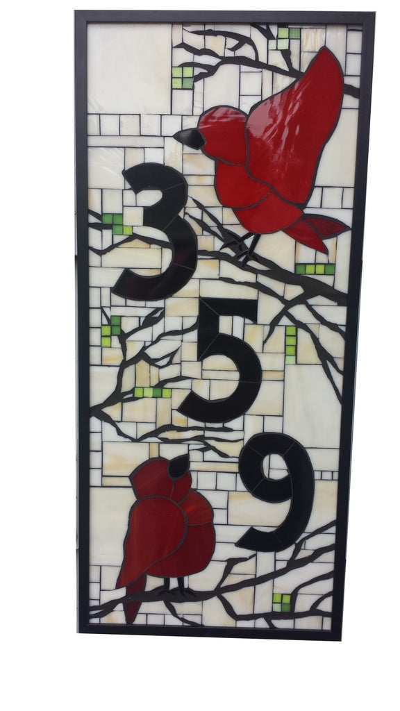 Custom House Number in Stained Glass Mosaic with Two Birds