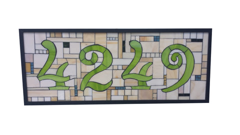 Custom House Number Stained Glass Mosaic Plaque