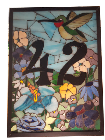 Custom House Number Plaque with Flowers