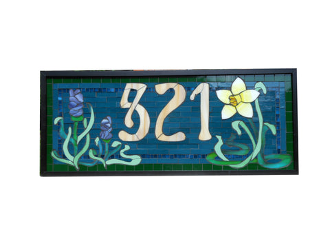 House Number Plaque Stained Glass Mosaic with Flowers