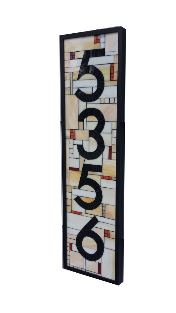 Custom House Stained Glass Mosaic Number Plaque