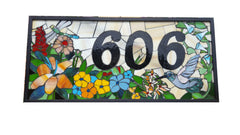 Custom House Number Plaque Garden Scene