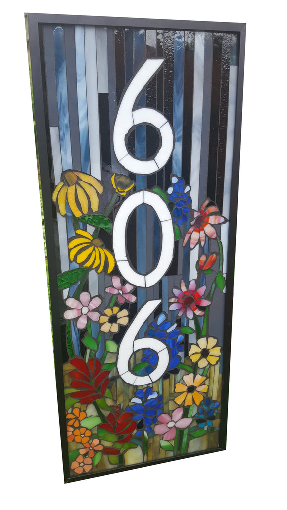 Custom House Number Plaque Wildflower Garden