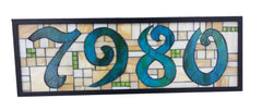 Custom House Number Plaque Stained Glass Mosaic
