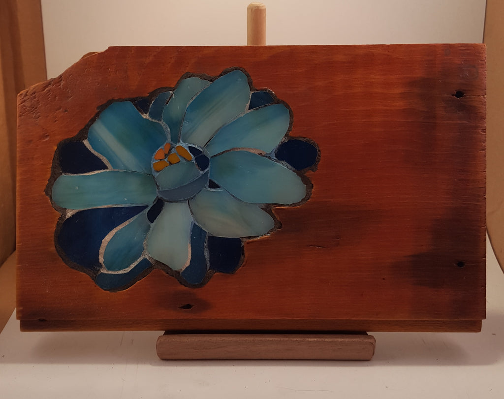 Blue Flower on Wood Slab Stained Glass Mosaic Active