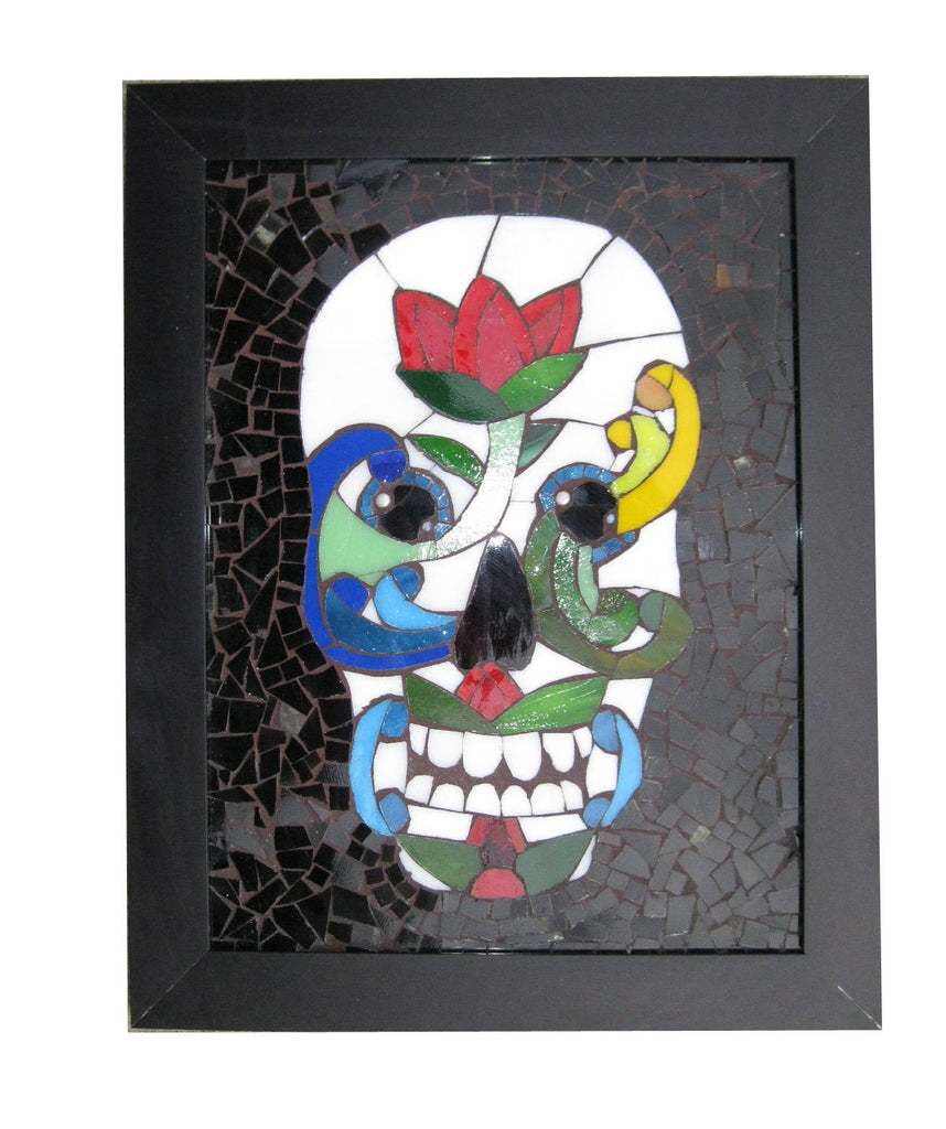 Day of The Dead Sugar Skull Rosemaling Art Glass Mosaic