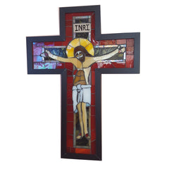 Stylized Crucifix Stained Glass Mosaic