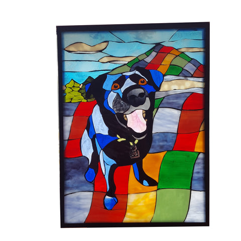 Custom Pet Portrait in Stained Glass Mosaic on Glass