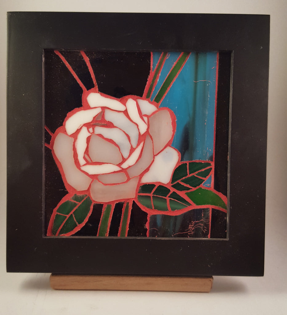 White Rose with Pink Grout Stained Glass Mosaic