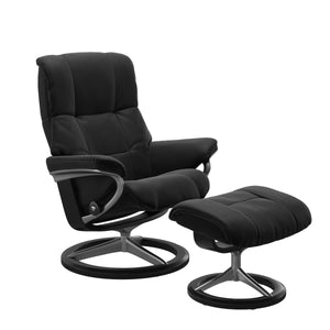 Stressless Mayfair Medium Recliner and Ottoman with Signature Base