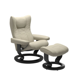 Stressless Wing Medium Recliner and Ottoman with Classic Base