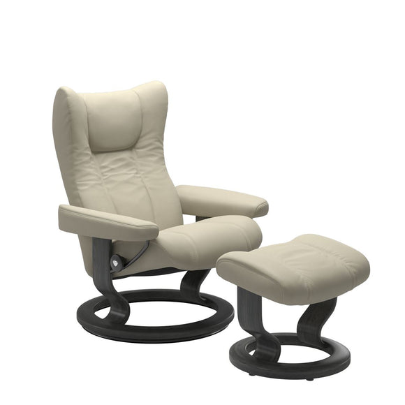 Stressless Wing Large Recliner and Ottoman with Classic Base