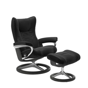 Stressless Wing Small Recliner and Ottoman with Signature Base