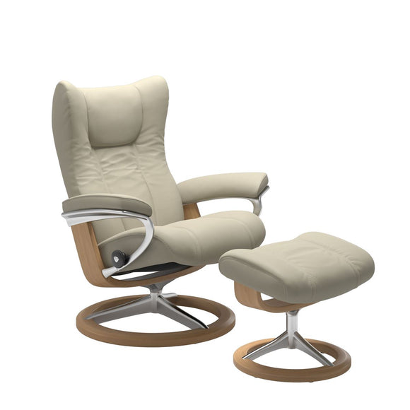 Stressless Wing Medium Recliner and Ottoman with Signature Base