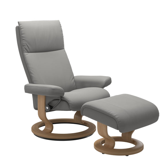 Stressless Aura Medium Recliner and Ottoman with Classic Base