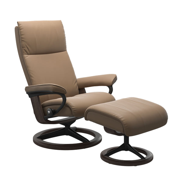 Stressless Aura Large Recliner and Ottoman with Signature Base
