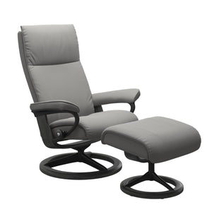 Stressless Aura Medium Recliner and Ottoman with Signature Base