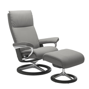 Stressless Aura Small Recliner and Ottoman with Signature Base