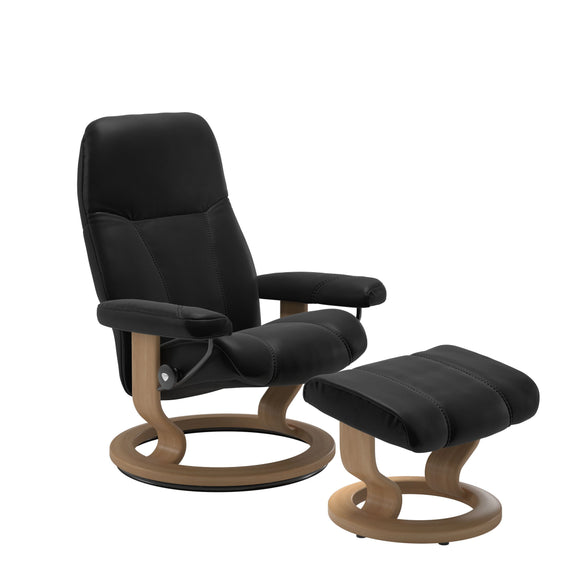 Stressless Consul Medium Recliner and Ottoman with Classic Base