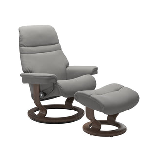 Stressless Sunrise Small Recliner and Ottoman with Classic Base