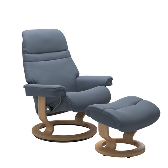 Stressless Sunrise Large Recliner and Ottoman with Classic Base
